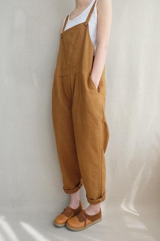 Women Leisure Cotton Jumpsuits Comfortable Dungarees Wide Leg .