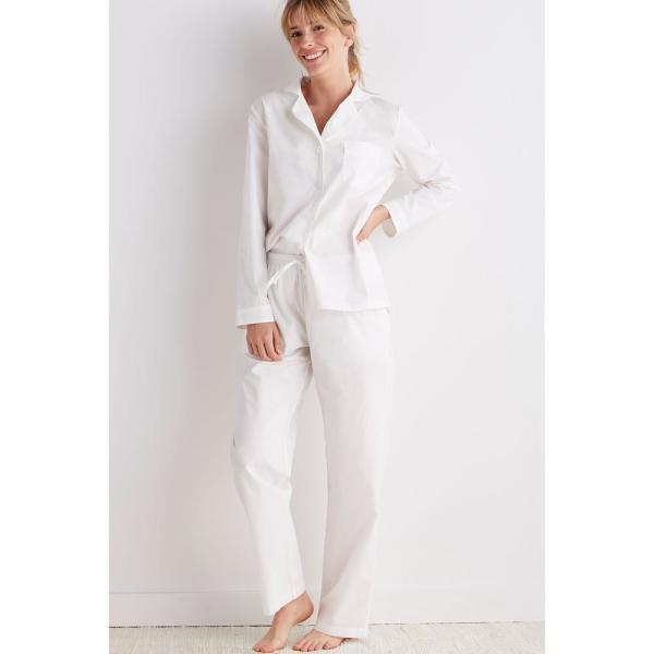 The Company Store Solid Poplin Cotton Women's Medium White Pajama .