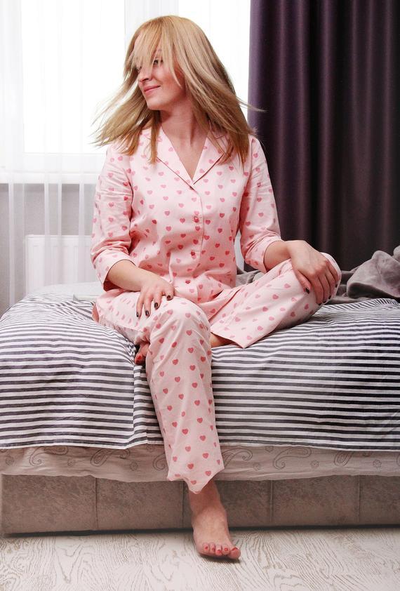 Pajamas Long Pants cotton pajama set pink custom hand made | Et