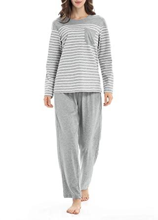 Genuwin Cotton Pajamas for Women Long Sleeve Sleepwear Set .