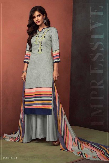 Grey Occasional Wear Embroidery Work Cotton Satin Salwar Kameez .