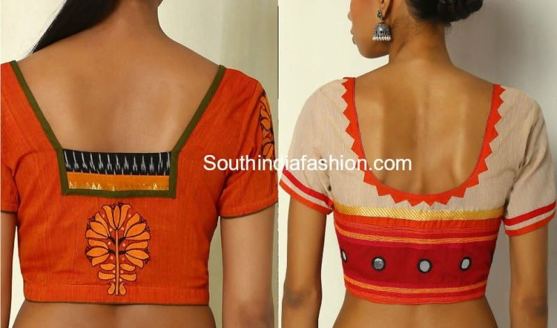 18 Simple and Trendy Blouse Back Neck Designs For Cotton Saree .