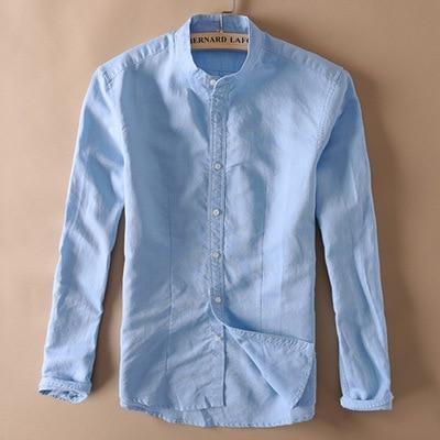 Solid Linen Shirt Men Autumn Long Sleeve Mandarin Collar Full .