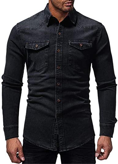 Black Denim Shirt Men Casual Fit Slim Long Sleeve Shirts Autumn .