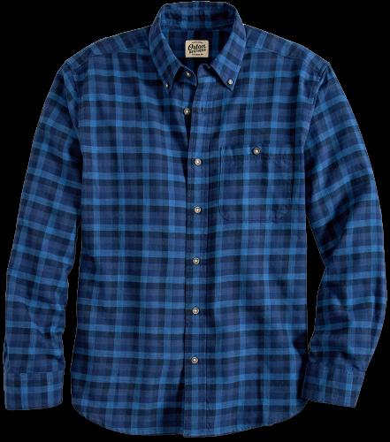 Men's Washed Cotton Indigo Plaid Shirt   Orton Brothe