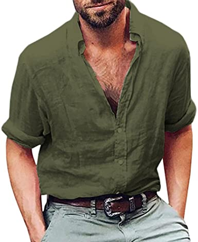 Amazon.com: vermers Mens Tops Mens Long Sleeve Henley Shirt Cotton .