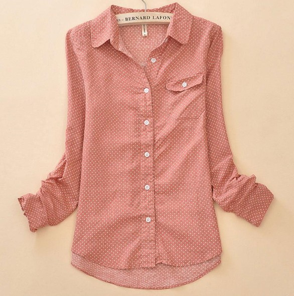 new 2016 Polka Dot Long sleeve 100% Cotton printed Shirt For Women .