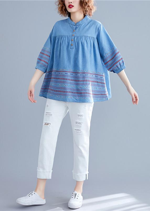 DIY denim blue cotton shirts women stand collar embroidery summer .