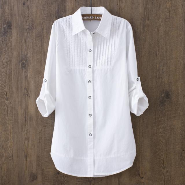 Cotton Shirt Women Fashion Turn Down Collar Pleated Trim Pintuck .