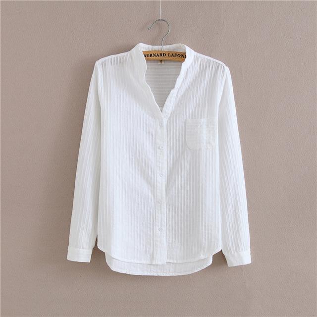Foxmertor 100% Cotton Shirt White Blouse 2018 Spring Autumn .