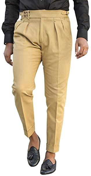 Bbalizko Mens Casual Gurkha Pants Buckle Button Waist Pleated .