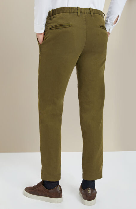 Green tapered-fit stretch cotton trousers | Slowe