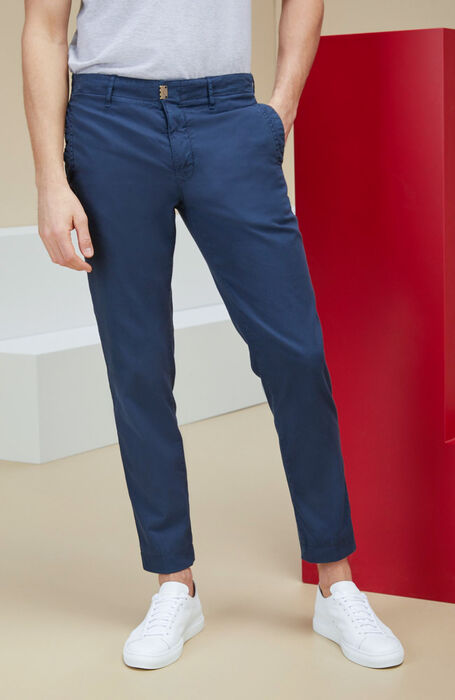Blue tapered-fit stretch cotton trousers | Slowe