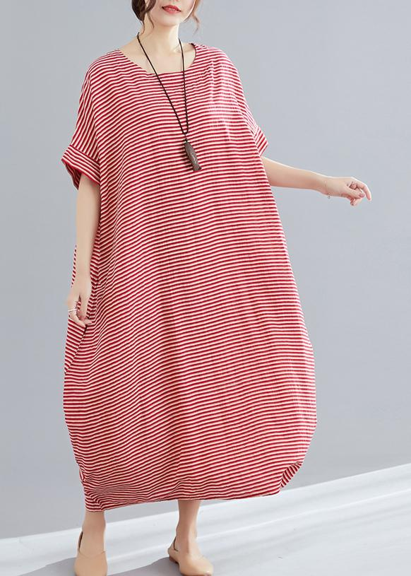 DIY red striped cotton tunics for women Plus Size Tutorials o neck .