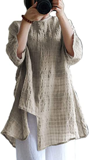 Women Cotton Tunic Tops Batwing Sleeve Plaid T Shirts Casual .