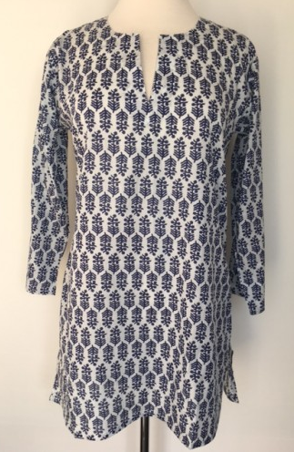 Cotton Print Tunic White and Navy (With images) | Print tun