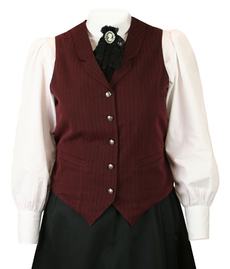 Ladies Striped Cotton Vest - Burgun
