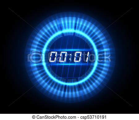 Futuristic countdown clock. digital electronic timer concept .