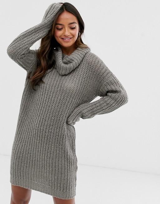Brave Soul soda cowl neck sweater dress in gray | AS