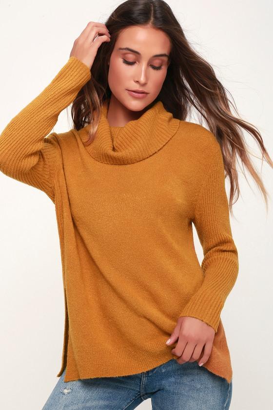 Olive + Oak Brant - Dark Mustard Sweater - Cowl Neck Sweat