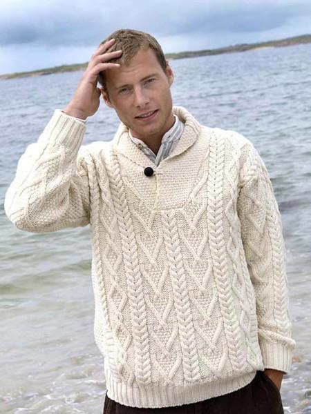 Mens Aran Cowl Neck Sweater | The Sweater Shop, Irela