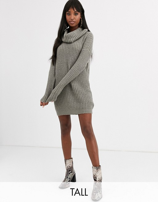 Brave Soul Tall soda cowl neck sweater dress in gray | AS