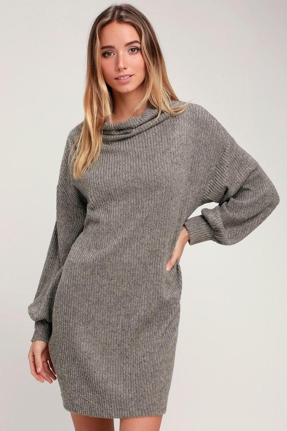 Cute Taupe Dress - Cowl Neck Dress - Marled Dress - Sweater Dre