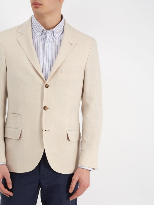 Brunello Cucinelli Single-breasted wool and linen-blend blazer .