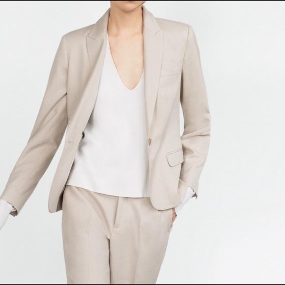Zara Jackets & Coats | Woman Cream Blazer | Poshma