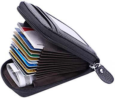 MaxGear Credit Card Wallet with Zipper, Genuine Leather RFID .