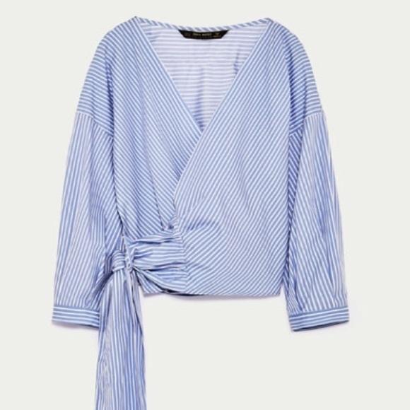 Zara Tops | Striped Crossover Shirt | Poshma