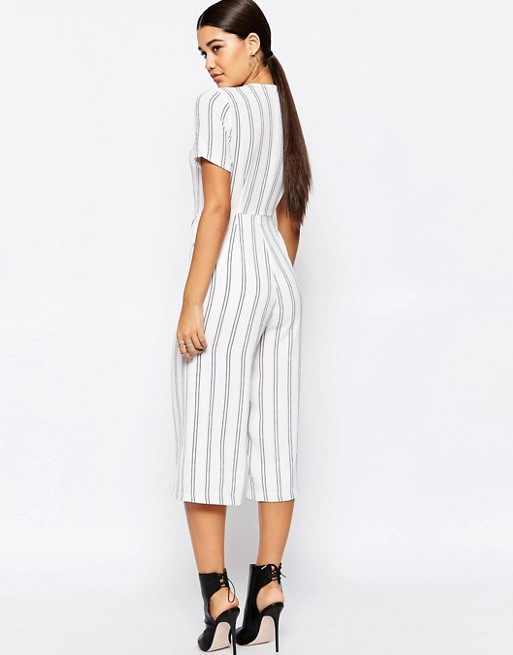 Missguided Stripe Culotte Jumpsuit | AS