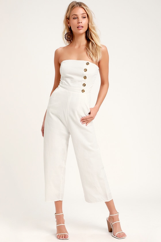Cute White Jumpsuit - Strapless Jumpsuit - Culotte Jumpsu