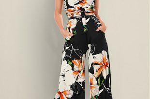 Strapless Culotte Jumpsuit in Black Multi | VEN