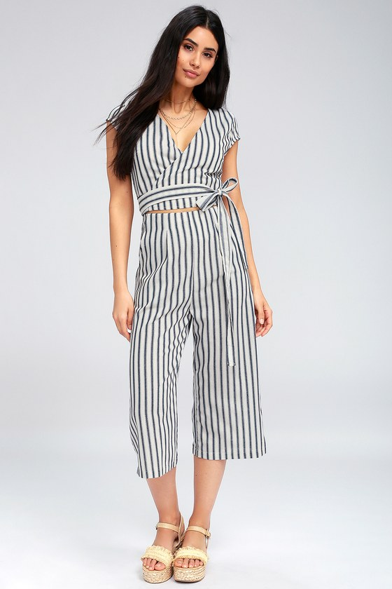 Chic Blue and White Striped Jumpsuit - Wrap Culotte Jumpsu