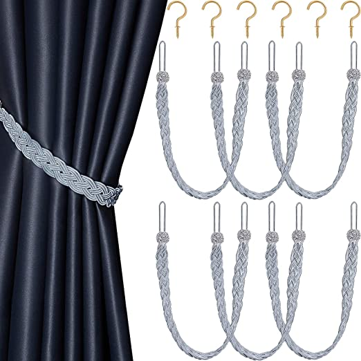 Amazon.com: Blulu Braided Curtain Tiebacks Rope Belt Curtain Ties .