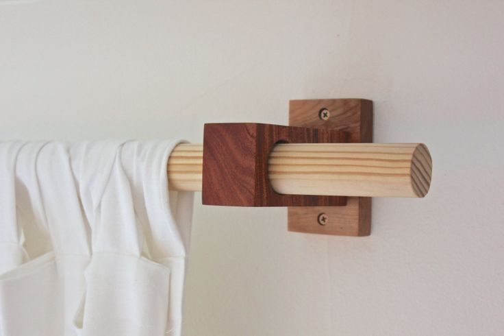 Diy Wooden Curtain Rod Brackets (With images) | Wood curtain rods .