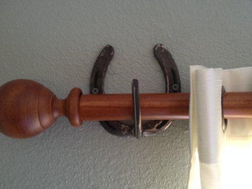 Handmade rustic Horseshoe Curtain Rod Hanger/Holder set. Comes .