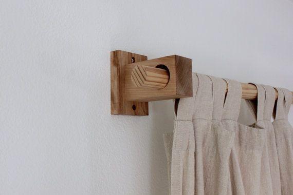 Curtain holders, curtain rod holders, modern wood brackets .