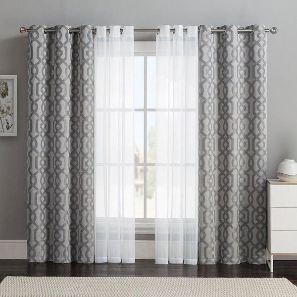Vcny 4-pack Barcelona Double-Layer Curtain Set, Gray ($32 .