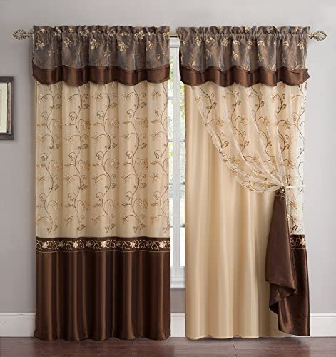 Amazon.com: Fancy Collection Embroidery Curtain Set 2 Panel Drapes .