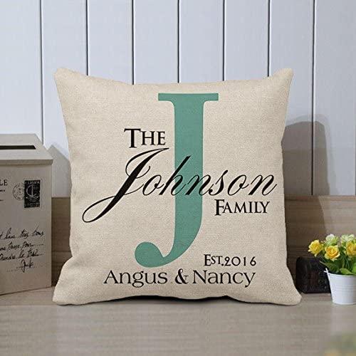 Amazon.com: hiusan Personalized Family Name Pillow Covers Custom .