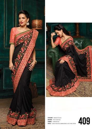 Silk Fancy Embroidered Daily Wear Sarees, Packaging: Plastic Bag .