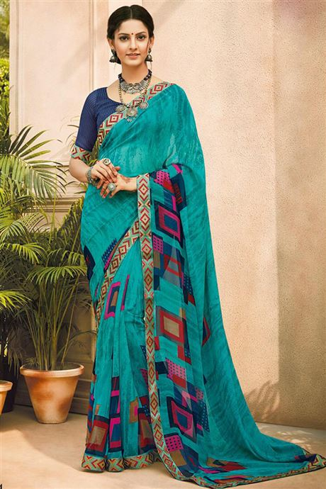 Printed Fluorescent Casual Wear Sarees Catalog Wholesale .