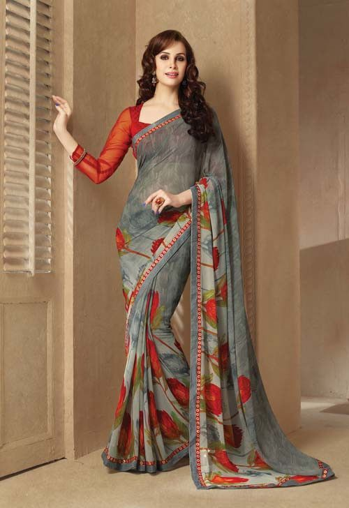 Grey & Maroon Printed Daily Wear Saree By Sahiba (With images .