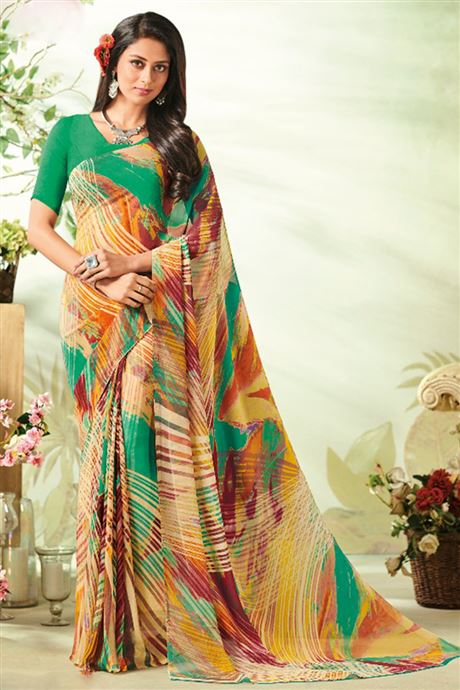 Printed Georgette Sarees Ladies Casual Dailywear Sarees Online .