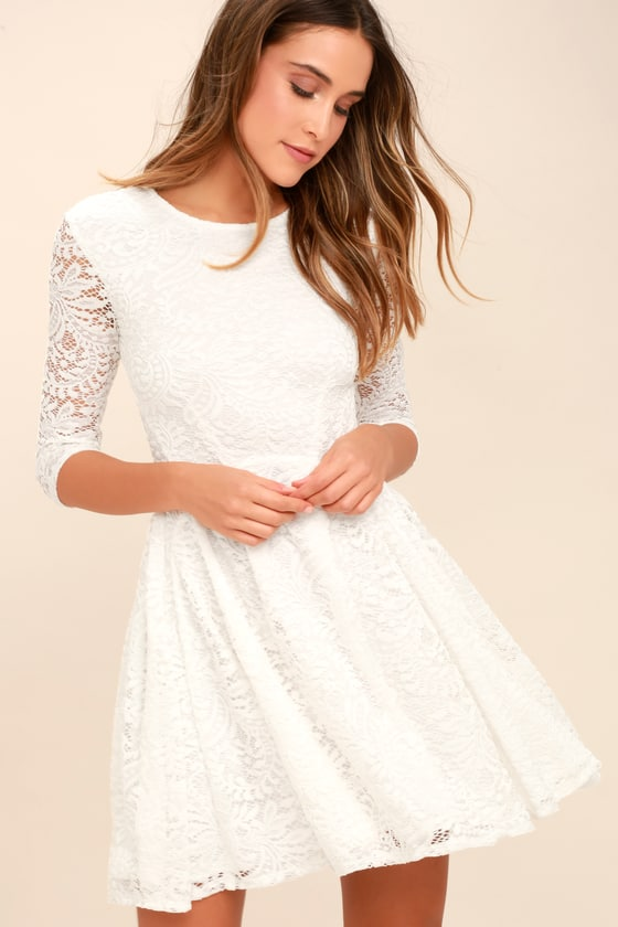 Lovely White Dress - Lace Dress - Skater Dre