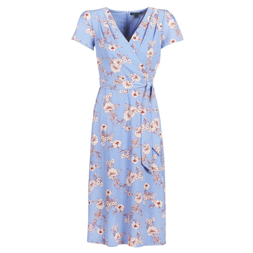 Lauren Ralph Lauren FLORAL PRINT- SHORT SLEEVE-DAY DRESS Blue .