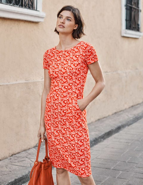 Phoebe Jersey Dress - Orange Sunset, Jungle Bloom | Boden