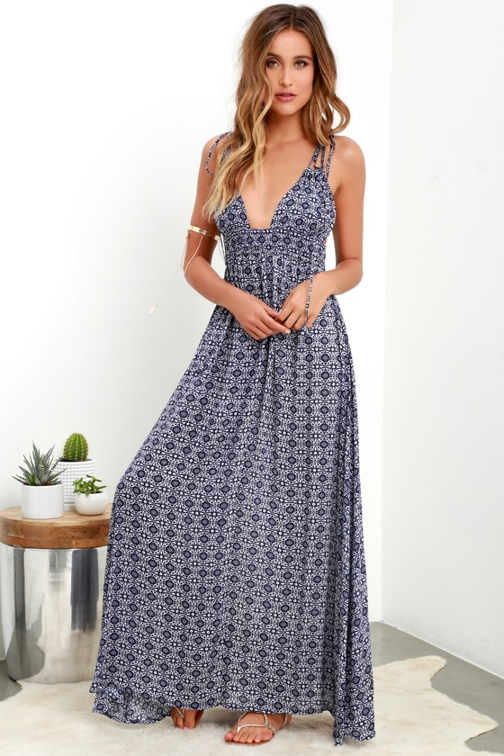 Navy Blue Print Dress - Print Maxi Dress - Sleeveless Ma